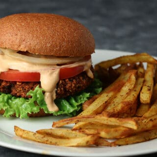 Black Bean Burger with oven baked fries