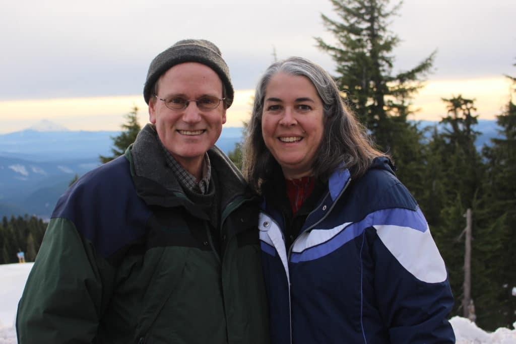 Teresa and Bob Sklenicka on Mt. Hood