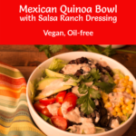Mexican Quinoa Bowl with striped napkin beside it, Pinterest title at top of image