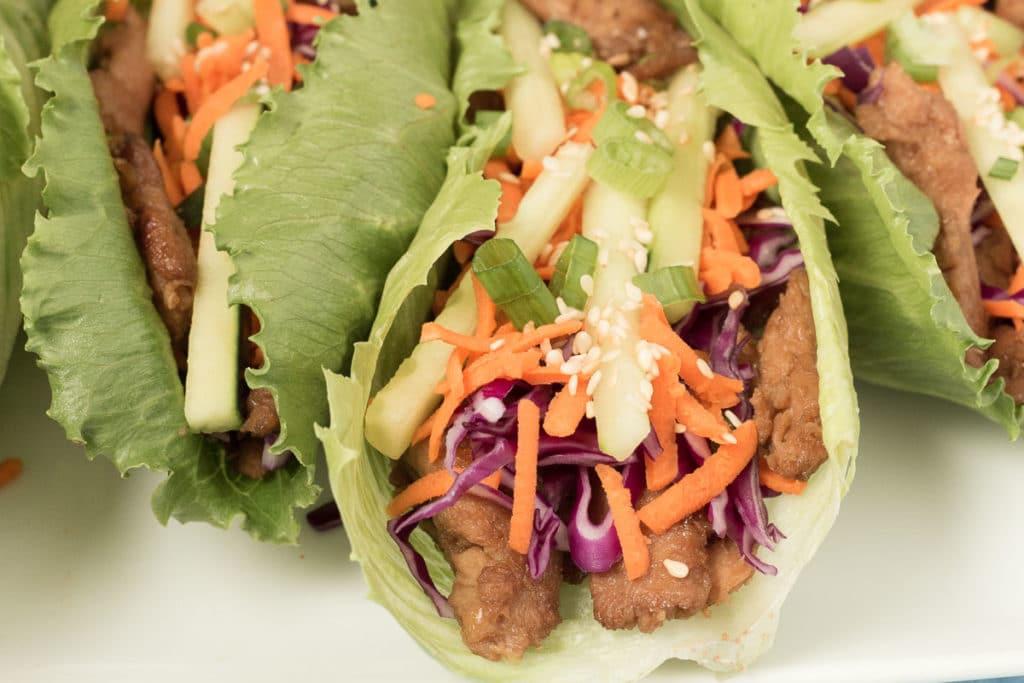 Closeup of Asian Soycurl Lettuce Wraps