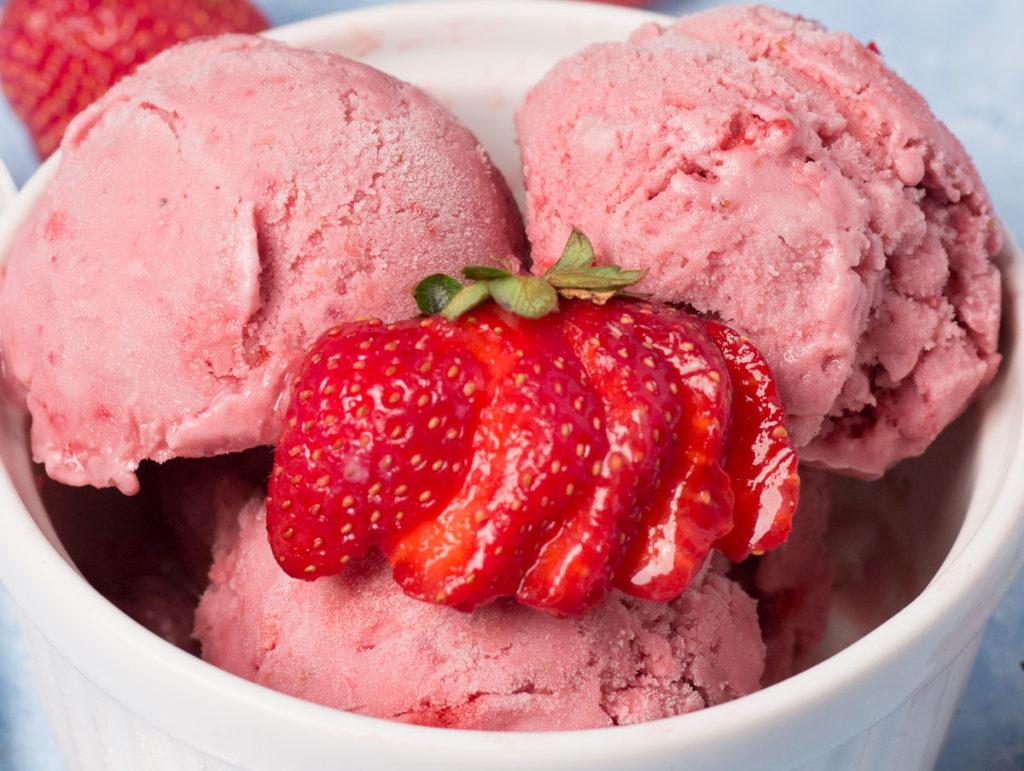 Closeup of Vegan Strawberry Ice Cream
