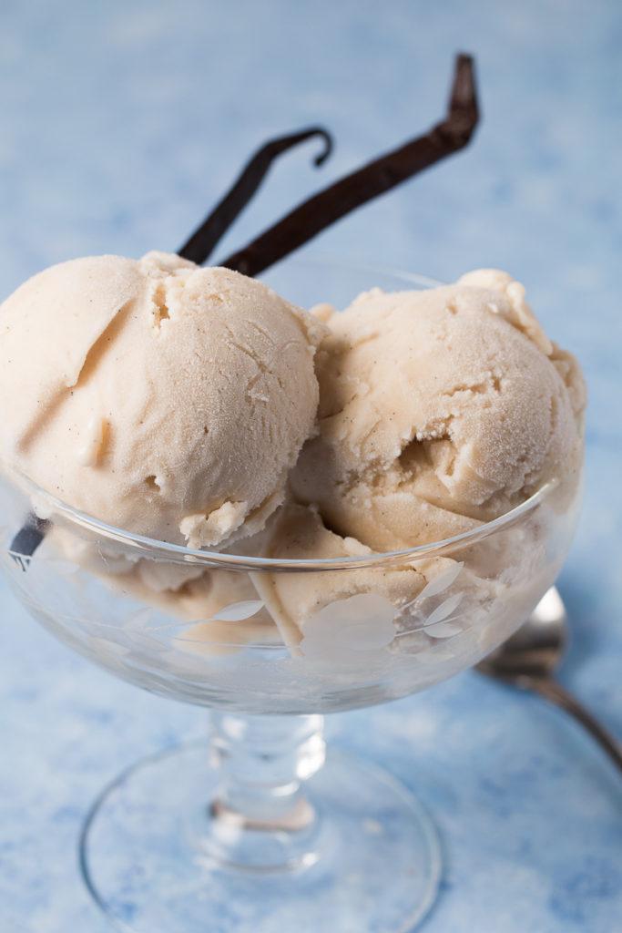 Bowl of Vegan Vanilla Ice Cream with vanilla beans