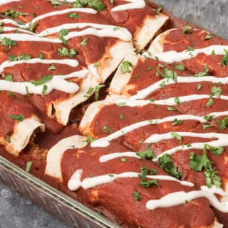Pan of Quinoa and Balck Bean Enchiladas