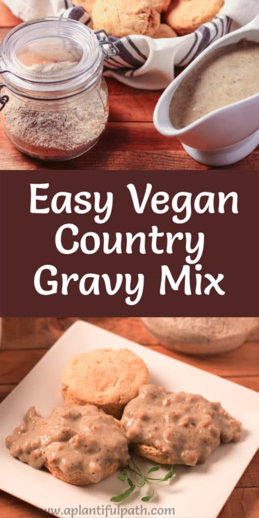 Image of country gravy and jar of gravy mix, and image of biscuits and sausage gravy, with Pinterest title between the images