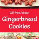 Two photos of plates of gingerbread cookies, with fir branches and red and gold ornaments around them. Pinterest title in between the two cookie photos.
