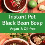 Black bean soup photos with Pinterest title overlay