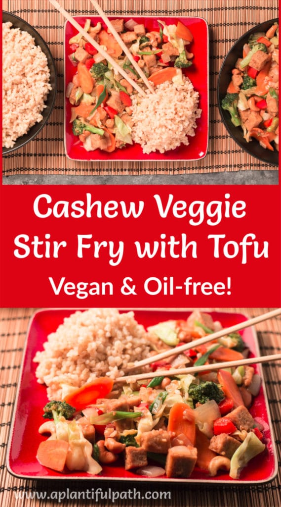 Pinterest image for Cashew Tofu Stir Fry