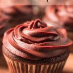 Pinterest Image for Vegan Chocolate Cupcakes with closeup image of cupcake