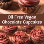 Pinterest Image for oil free vegan chocolate cupcakes