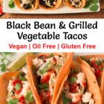 Pinterest image for Black Bean & Grilled Vegetable Tacos