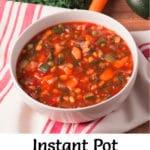 Pinterest image for Instant Pot vegetable soup