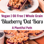 Two images of blueberry oat bars, with Pinterest title in between