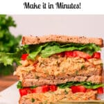 Photo of chickpea salad sandwich with Pinterest title