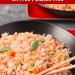 Bowl of fried rice with Pinterest title