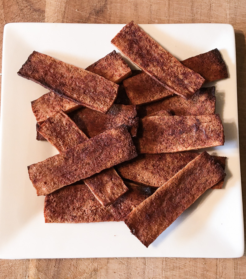 Plate of tofu bacon