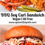 Two photos of bbq soy curl sandwich with Pinterest title in between