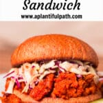 Photo of bbq soy curl sandwich with Pinterest title