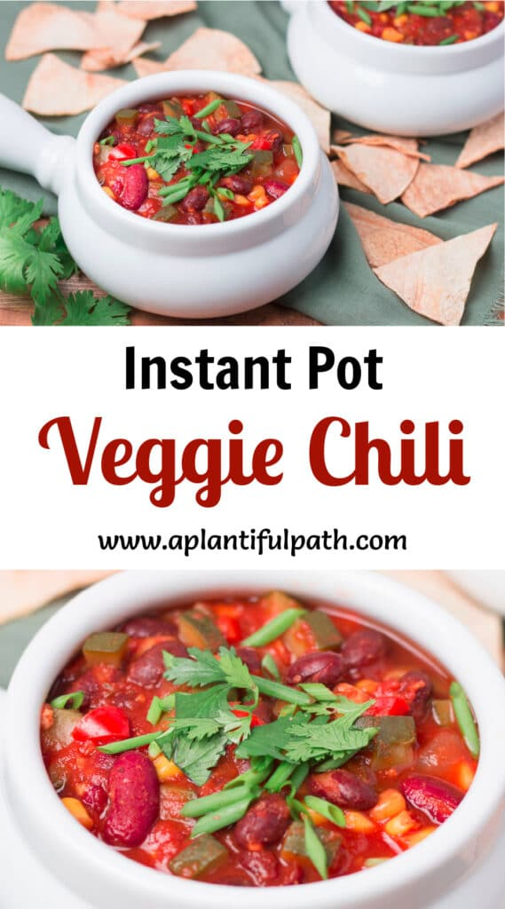 Two images of veggie chili with Pinterest title between them