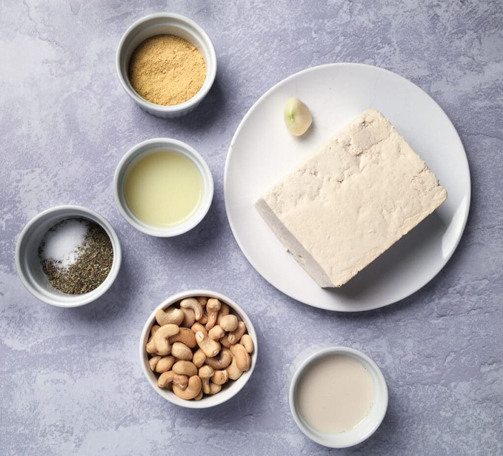 Ingredients for tofu ricotta