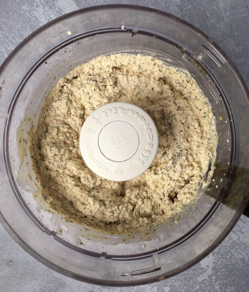 Processed ingredients in food processor