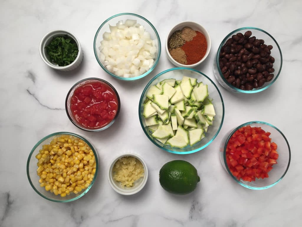 Ingredients for Calabacitas with black beans