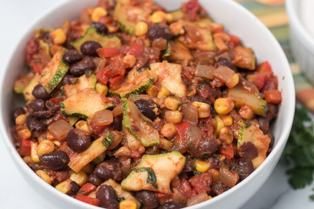 Bowl of Mexican vegetable saute