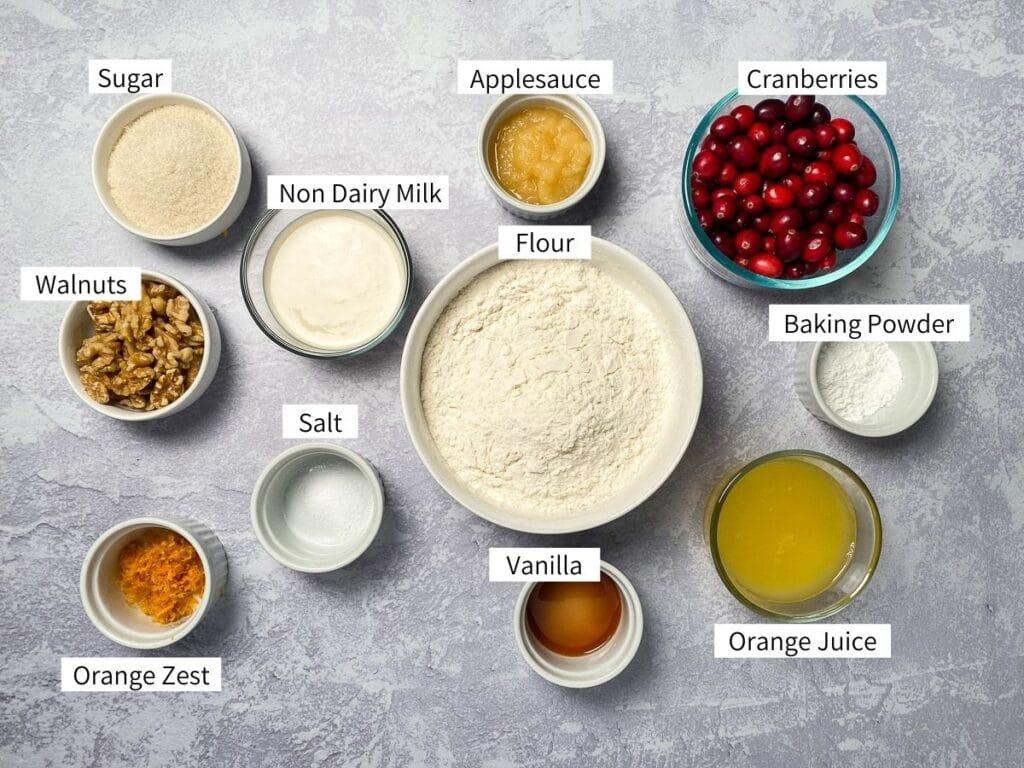 Ingredients for vegan cranberry orange muffins