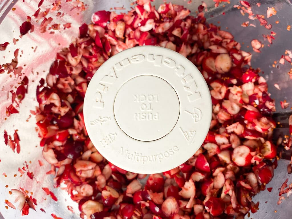 Chopped cranberries in food processor