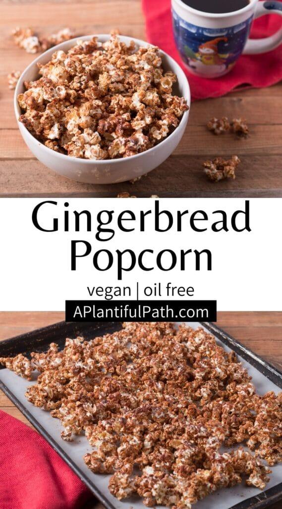 Pinterest image for Gingerbread Popcorn