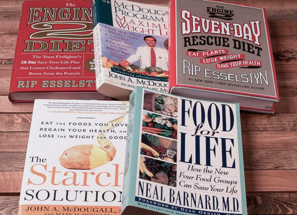 Collection of books related to eating a plant based diet
