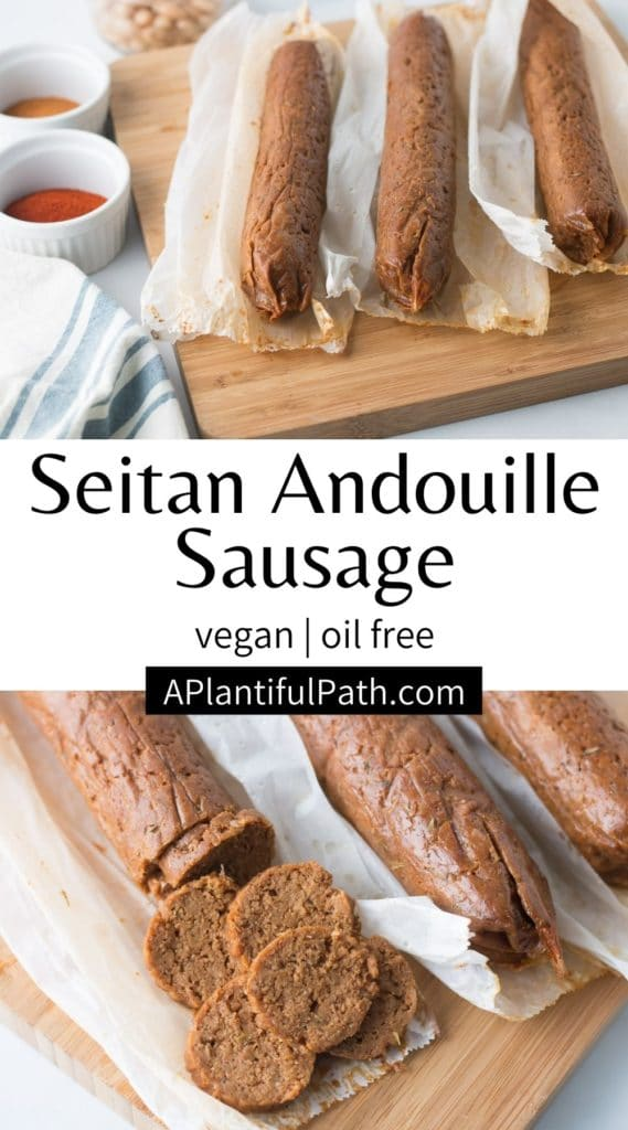 Pinterest image for vegan andouille sausage