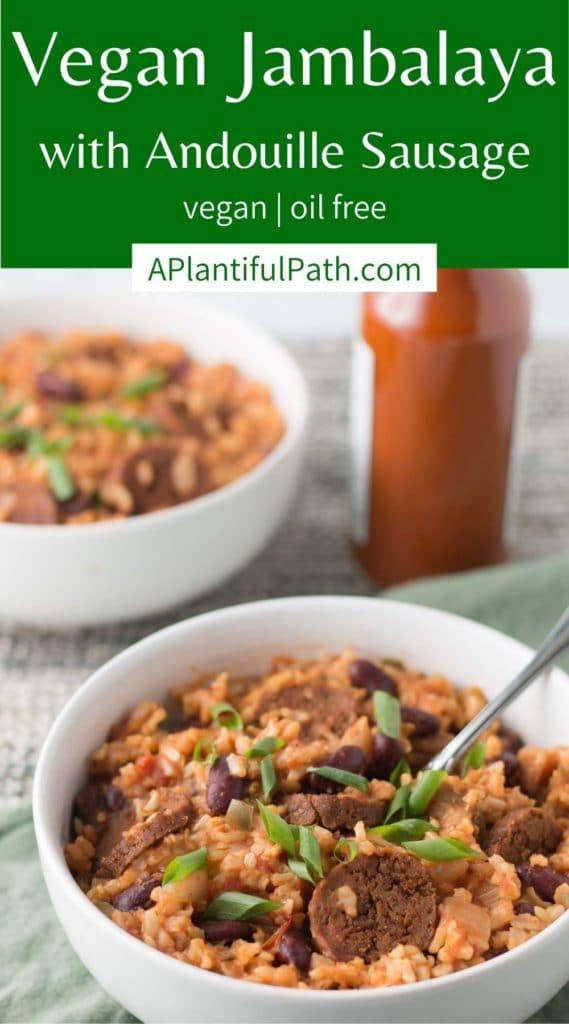 Pinterest image for vegan jambalaya