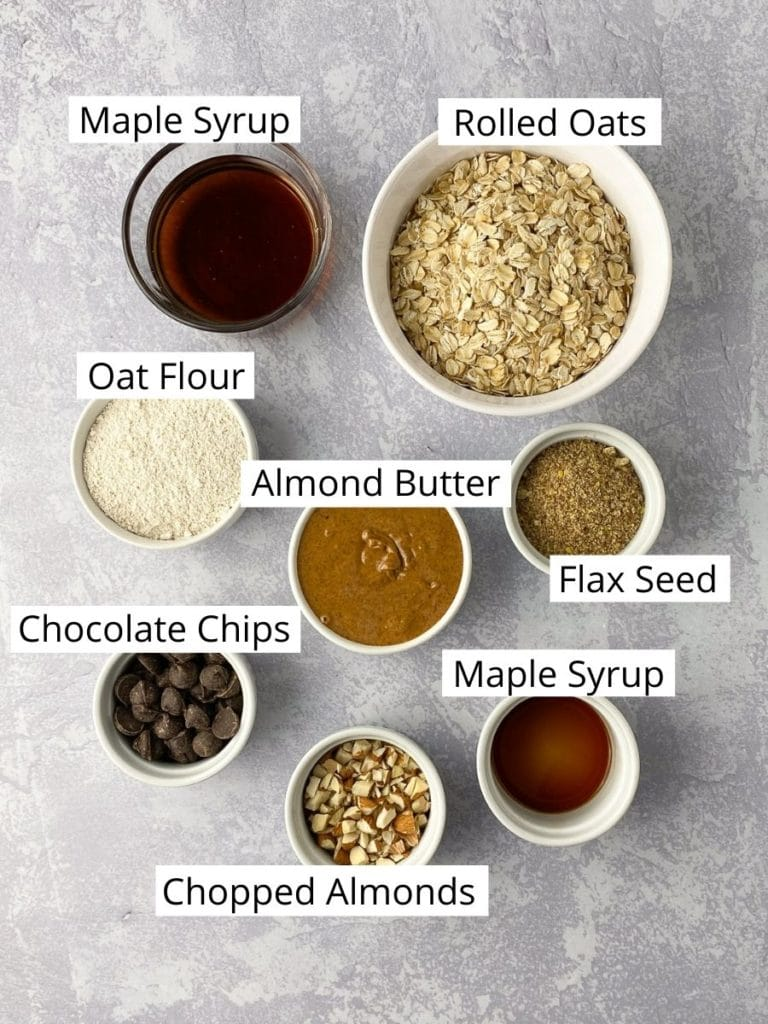 Bowls of ingredients for granola bars