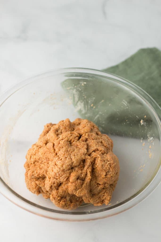 Seitan dough in glass bowl