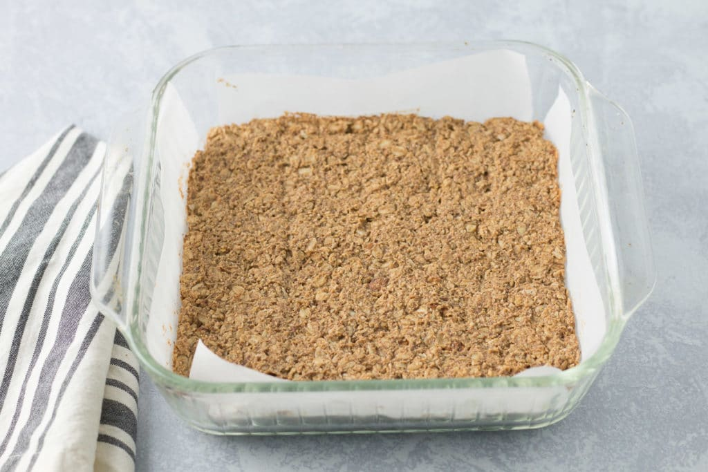 Baked granola bars before cutting