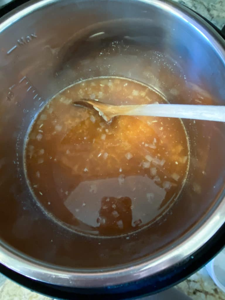 Broth and spices added to Instant Pot
