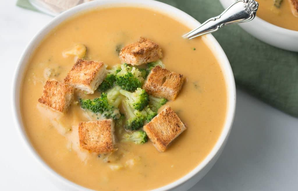 Closeup image of broccoli cheddar soup