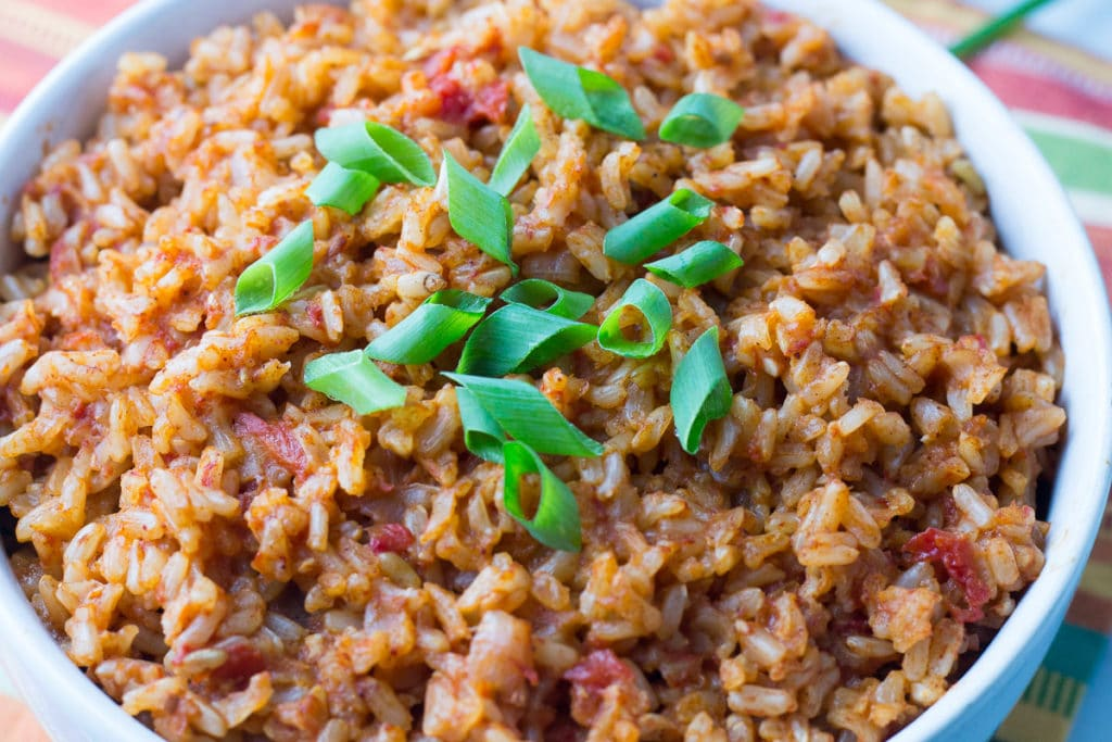 Closeup view of Mexican rice