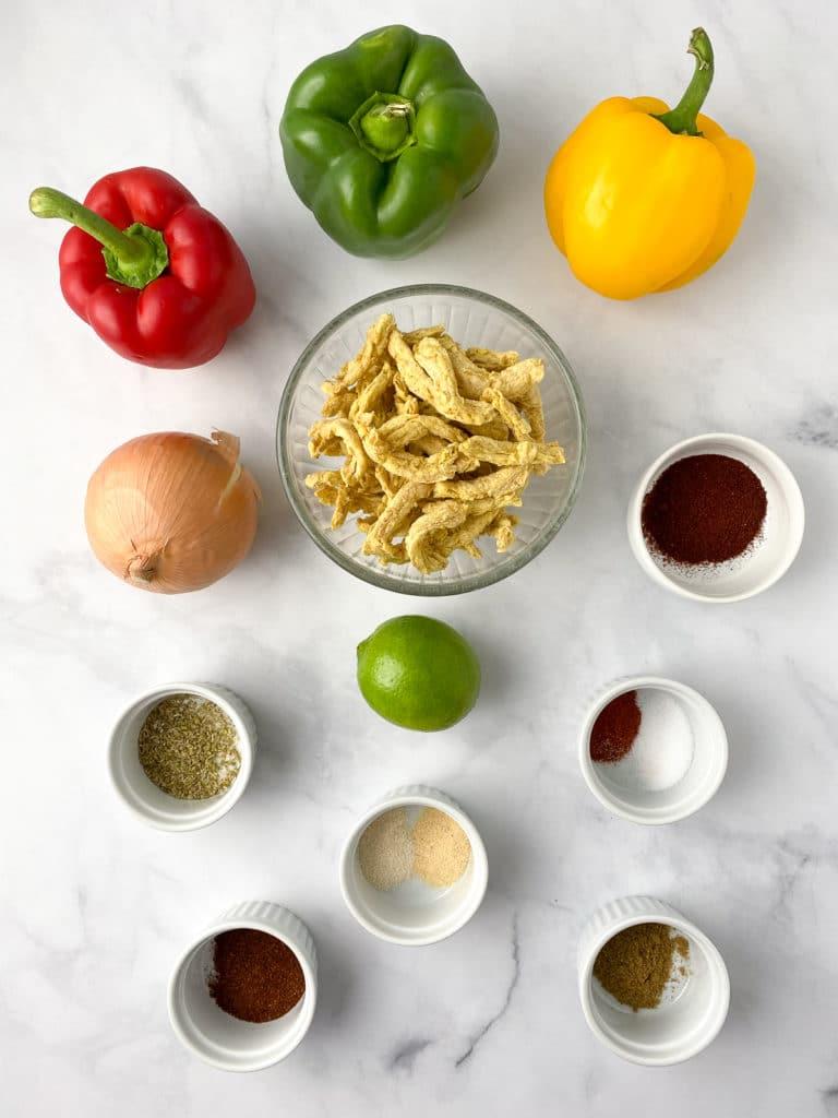 Ingredients for soy curl fajitas