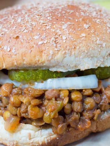 Closeup shot of vegan sloppy joes