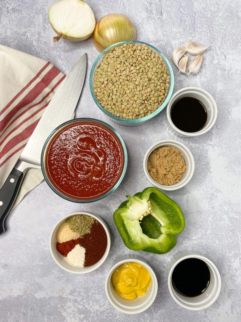 Ingredients for vegan sloppy joes