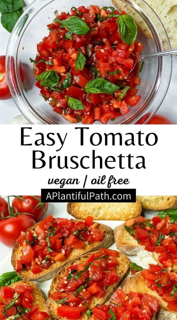 Pinterest image for tomato basil bruschetta