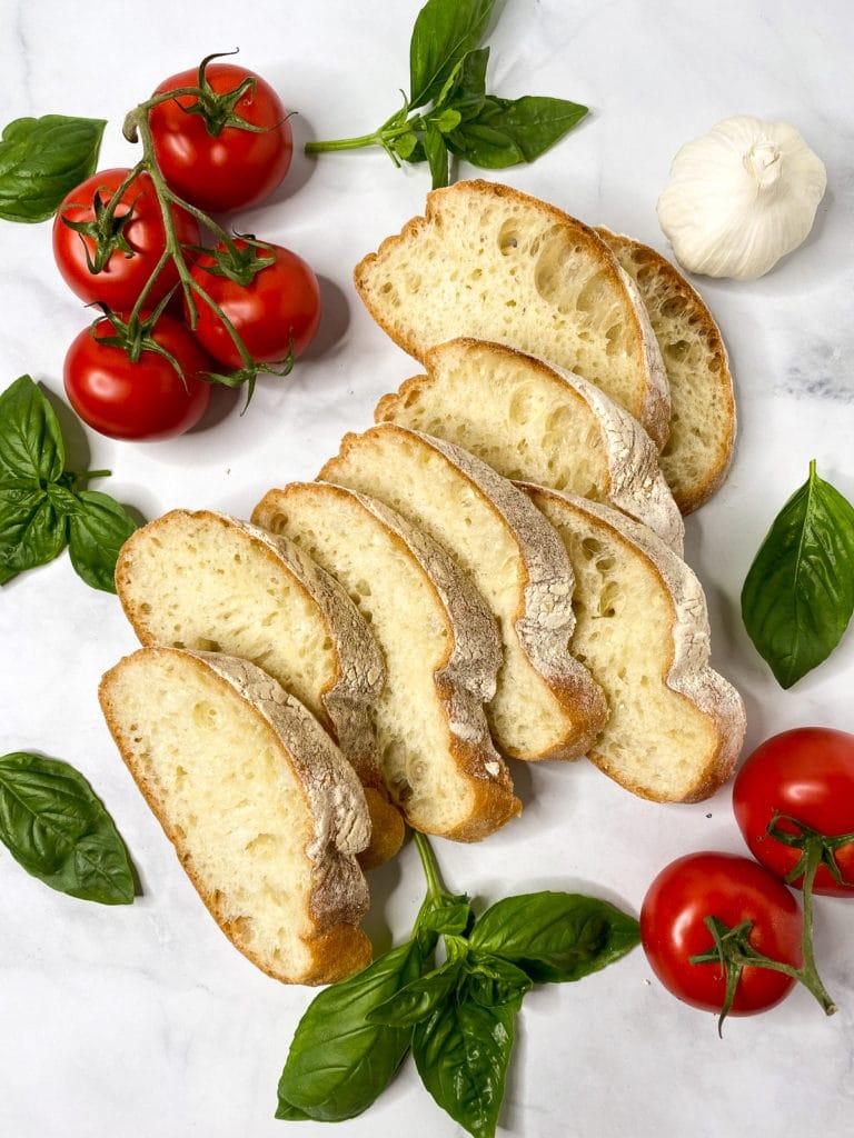 Ingredients for tomato bruschetta