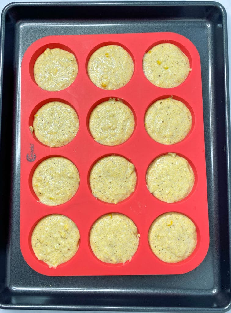 Silicone muffin pan with cornbread batter