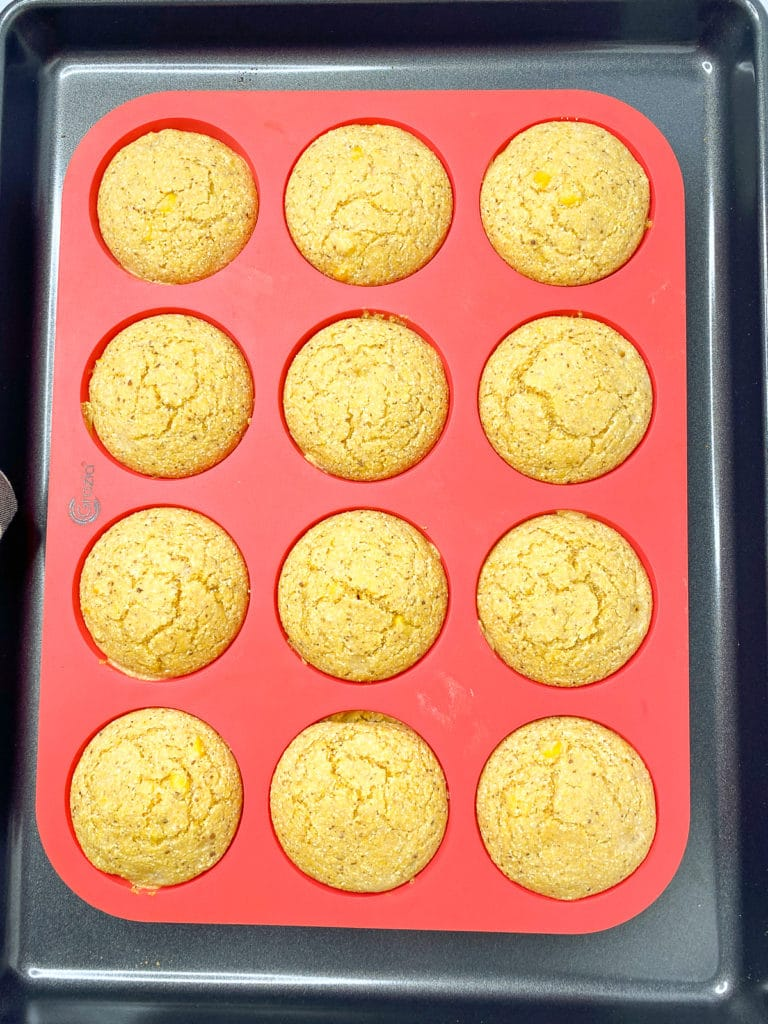Silicone muffin pan with corn bread muffins