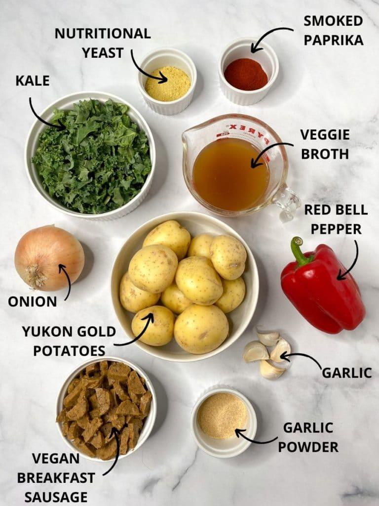Ingredients for vegan breakfast hash